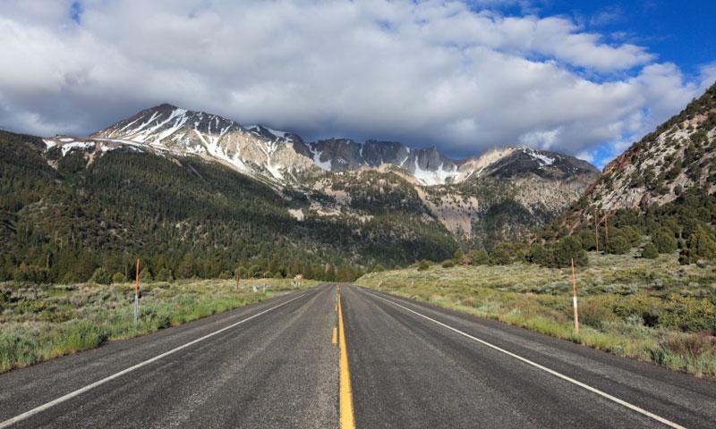 Driving towards Tioga Pass in Yosemite National Park