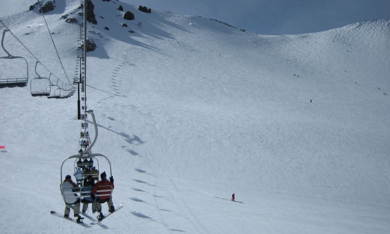 Riding the Chairlift at Mammoth Mountain Ski Area