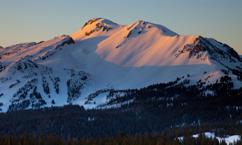 Sunset on Mammoth Mountain Ski Area